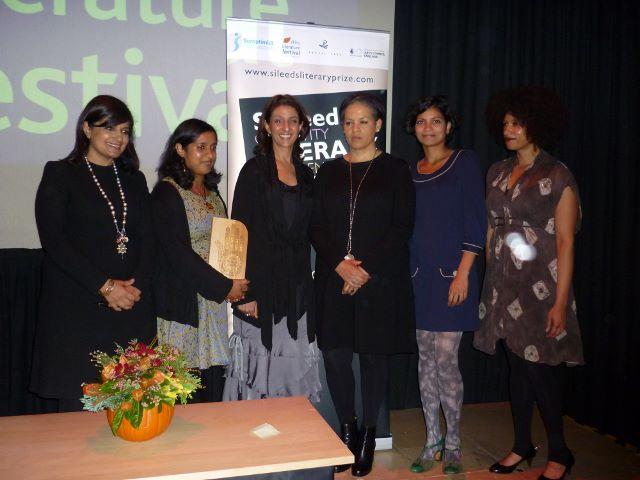 The 2014 award ceremony shortlist (L:R - Reshma Ruia, Mahsuda Snaith, Farah Ahamed, Kit de Waal, Anita Sivakumaran, Season Butler)